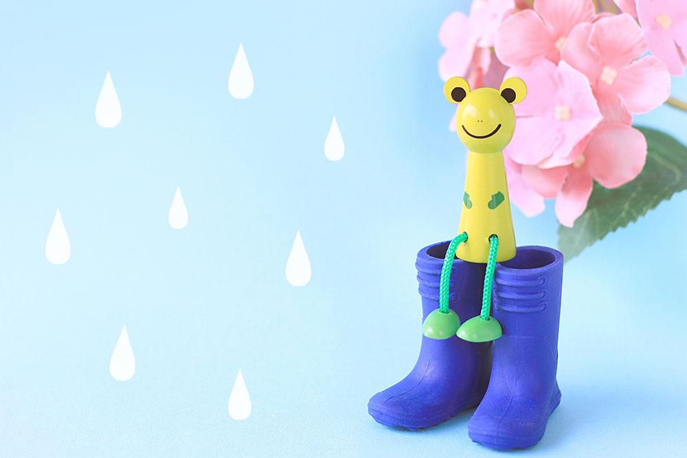 雨の日 長靴とカエルイメージ